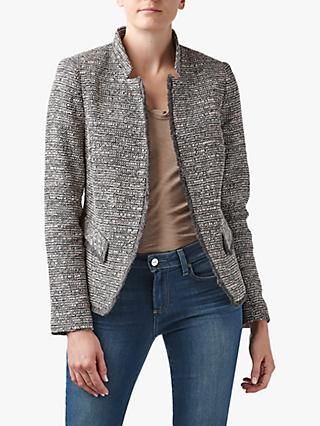 Helene For Denim Wardrobe Notch Collar Tweed Jacket, Pink/Grey