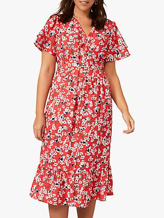 Studio 8 Claudette Floral Midi Dress, Red/Multi