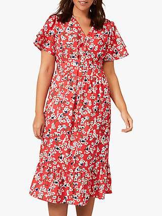Studio 8 Claudette Floral Midi Dress, Red/Multi