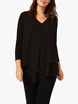 Studio 8 Ciara Layered Cropped Sleeve Blouse, Black