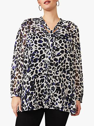 Studio 8 Chloe Animal Print Tie V Neck Blouse, Ivory/Multi