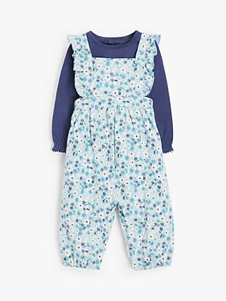 John Lewis & Partners Baby Floral Dungarees and Top Set, Multi