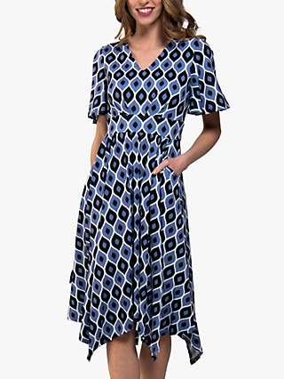 Jolie Moi Geometric Abstract Print Handkerchief Midi Dress, Blue/Multi