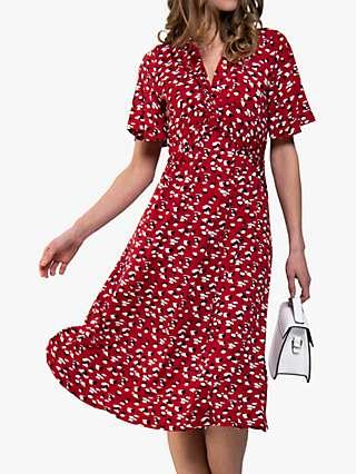 Jolie Moi Animal Print Flared Dress, Red/Multi
