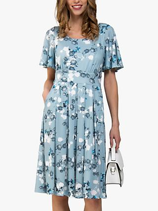 Jolie Moi Floral Print Pleat Flared Dress, Pale Blue