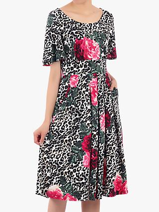 Jolie Moi Floral and Leopard Print Pleat Flared Dress, Multi