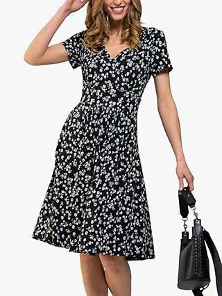 Jolie Moi Sweetheart Floral Print Dress, Black/White