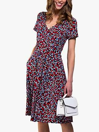 Jolie Moi Sweetheart Spot Floral Print Dress, Red/Multi