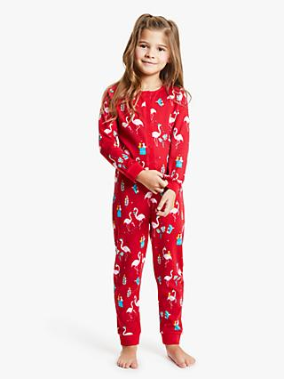 John Lewis & Partners Girls' Flamingo Print Onesie, Red