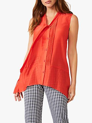 Phase Eight Ysanne Cotton and Silk Tie Neck Sleeveless Asymmetric Blouse, Parrot