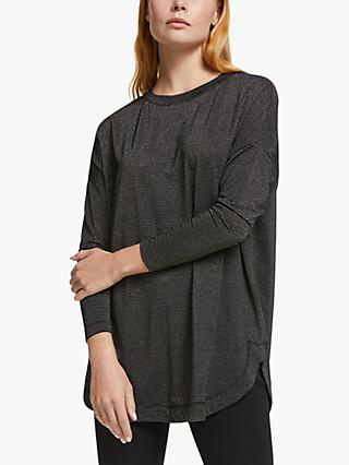 AND/OR Orla Metallic Stripe Long Sleeve Jersey Top, Black