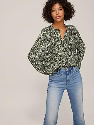 AND/OR Liberty Crowded Leopard Print Blouse, Green