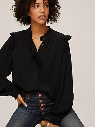 AND/OR Amelia Frill Blouse, Black