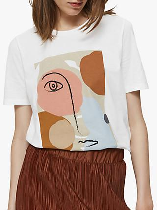 Selected Femme Abstract Print Cotton T-Shirt, Bright White