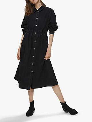 Selected Femme Ally Denim Midi Shirt Dress, Black