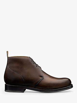 Grenson Wendell Leather Chukka Boots, Dark Brown