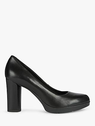 Geox Women's Anylla Leather Block Heel Court Shoes, Black
