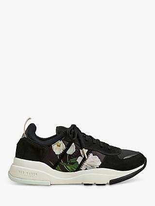 Ted Baker Keaton Suede Floral Trainers, Black