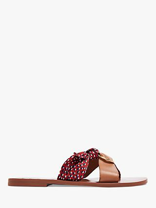 Ted Baker Maliyar Leather Scarf Detail Slip On Sandals, Tan