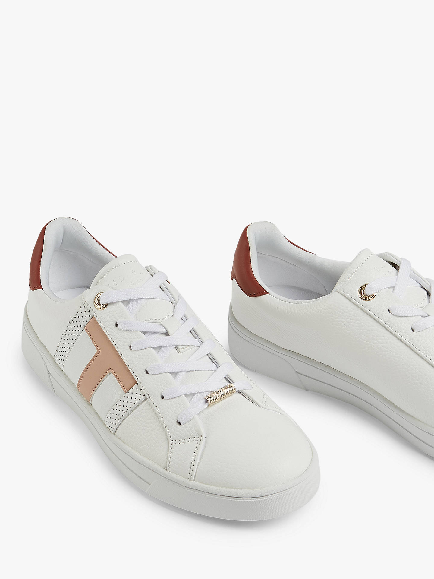 Buy Ted Baker Ottoli Tedah Leather Perforated T Detail Trainers, White, 2 Online at johnlewis.com