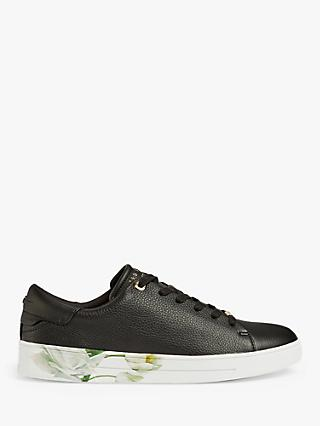 Ted Baker Sanzae Elderflower Leather Trainers, Black
