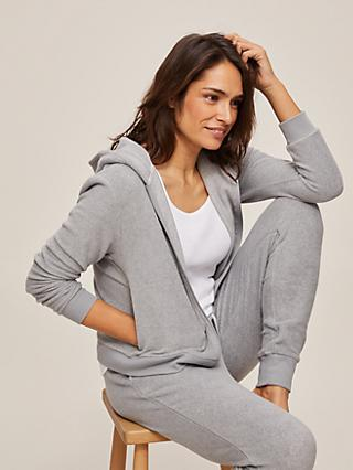 John Lewis & Partners Stretch Fleece Zip Hoodie, Grey