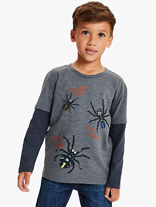 John Lewis & Partners Boys' Spider T-Shirt, Charcoal