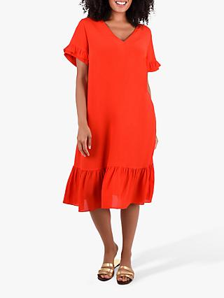 Live Unlimited Live Unlimited Curve Frill Shift Dress, Red