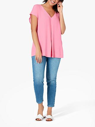 Live Unlimited Curve Soft V-Neck Blouse, Light Pink