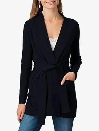 Jigsaw Cotton Crepe Belted Cardigan, Dark Navy