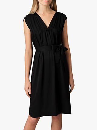 Jigsaw Ruched Jersey Dress, Black