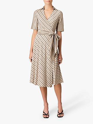 Jigsaw Wrap Stripe Dress, Vanilla