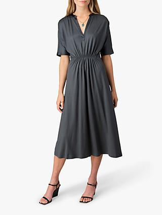 Jigsaw Shirred Waist Kimono Dress, Seaweed