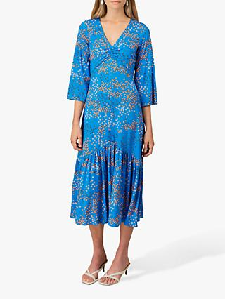 Jigsaw Animal Cluster Floral Tiered Midi Dress, Azure