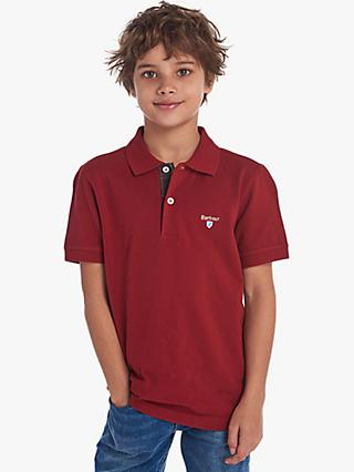 Barbour Boys' Tartan Short Sleeve Polo Shirt, Red