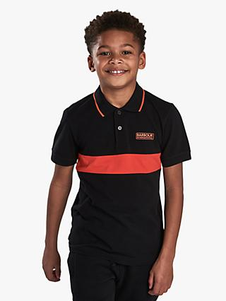 Barbour International Boys' Colour Block Short Sleeve Polo Shirt, Black