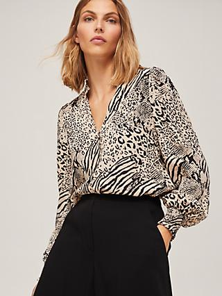 Somerset by Alice Temperley Mixed Animal Print Blouse, Neutral/Black