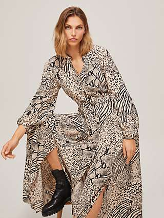 Somerset by Alice Temperley Mixed Animal Print Maxi Dress, Neutral/Black