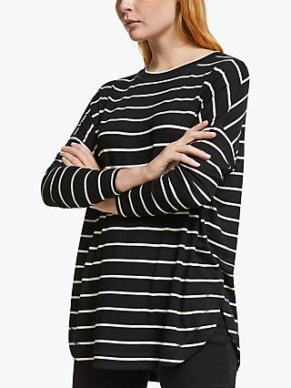 AND/OR Orla Stripe Long Sleeve Jersey Top, Black/Stone