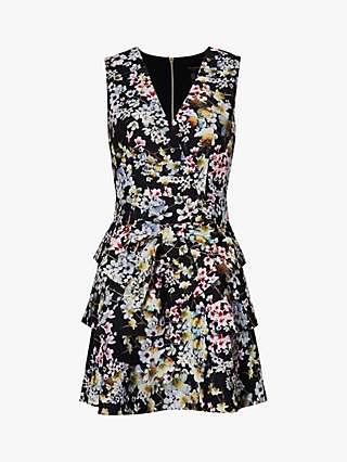 Ted Baker Jackii Floral Tiered Mini Dress, Black
