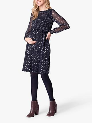 Seraphine Anka Smocked Maternity & Nursing Dress, Navy