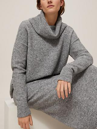 Modern Rarity Lofty Roll Neck Jumper, Silver Grey