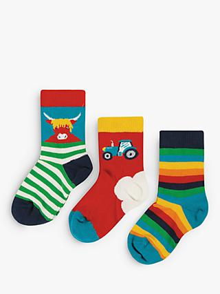 Frugi Boys' GOTS Organic Cotton Socks, Pack of 3, Multi