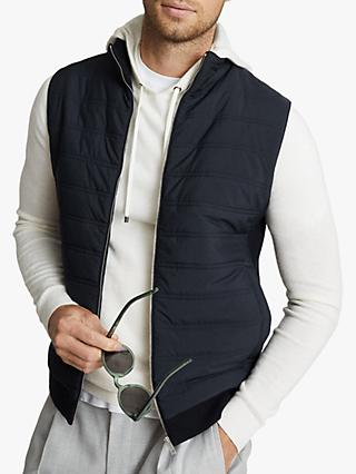Reiss William Quilted Gilet, Navy