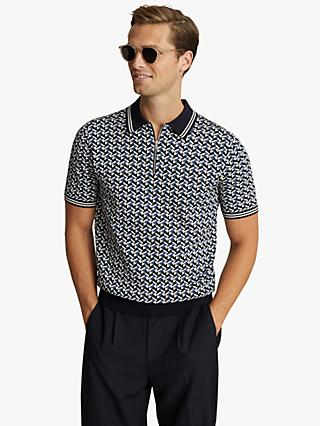 Reiss Archie Geo Print Zip Neck Polo Shirt