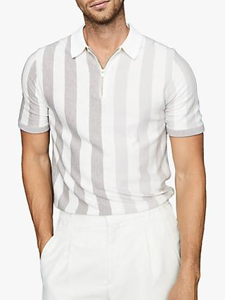 Reiss Marino Stripe Zip Neck Polo Shirt, Ecru