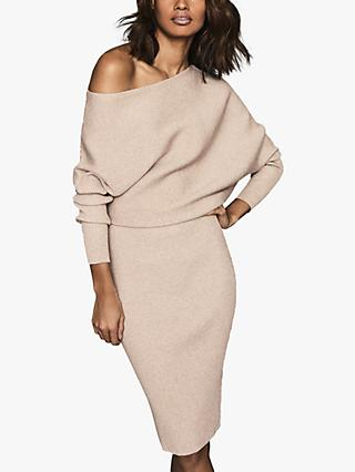 Reiss Lara Ribbed Off The Shoulder Dress, Stone