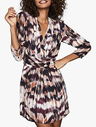 Reiss Orla Ikat Wrap Front Mini Dress, Berry
