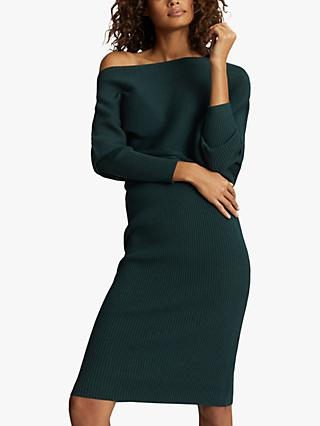Reiss Lara Ribbed Knee Length Dress, Green