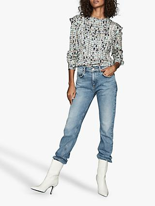 Reiss Olivia Ditsy Print Ruffle Blouse, Blue